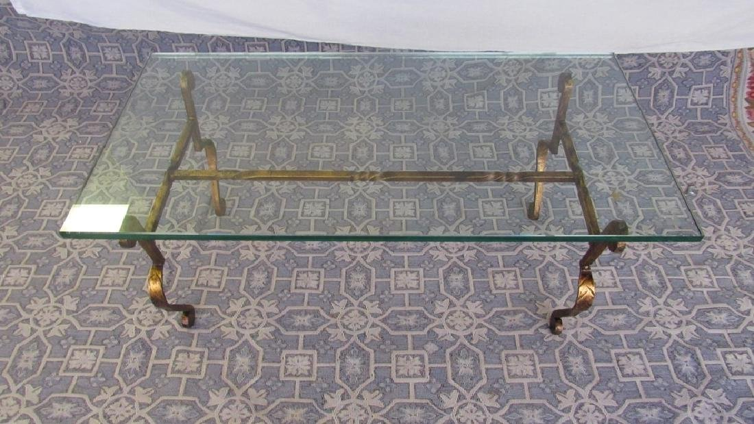 Bronze Leg Glass top Old Coffee Table