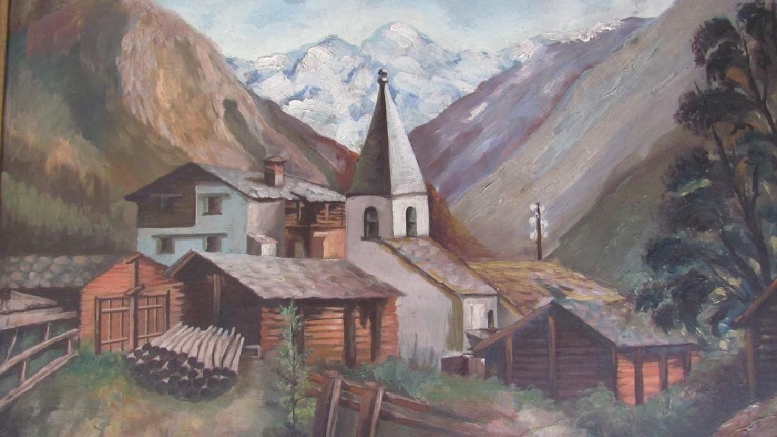 Oil Painting of Village in Mountain