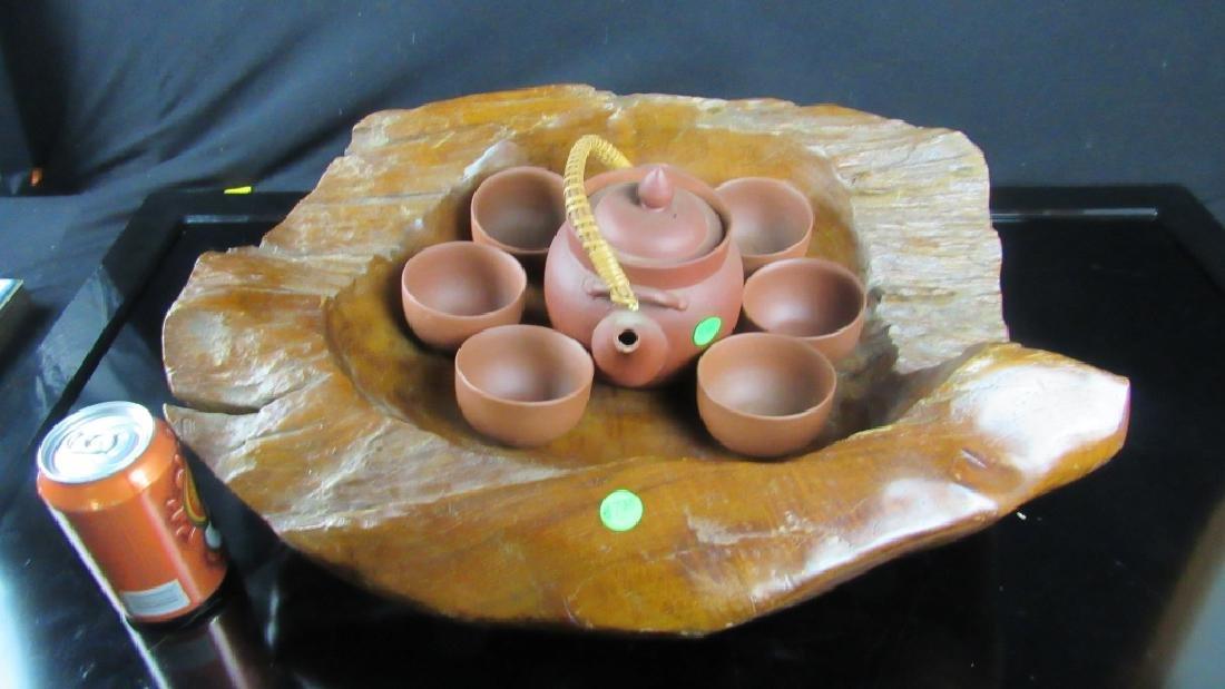 Carved Wood Tea Set Holder and Tea Set