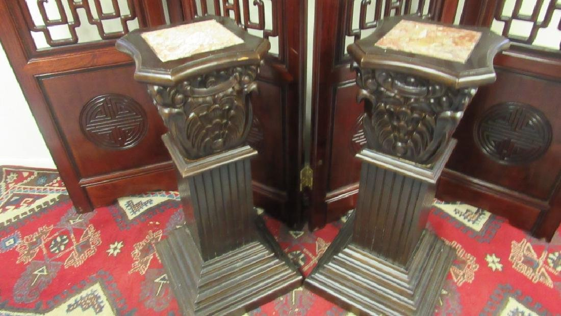 Pair of Fine Ornate Marble Insert Stands