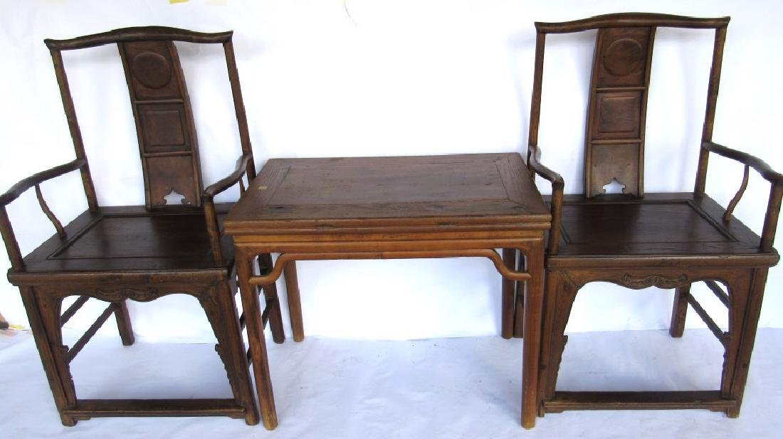 Pair of Rosewood Chairs with Huanghuali Table
