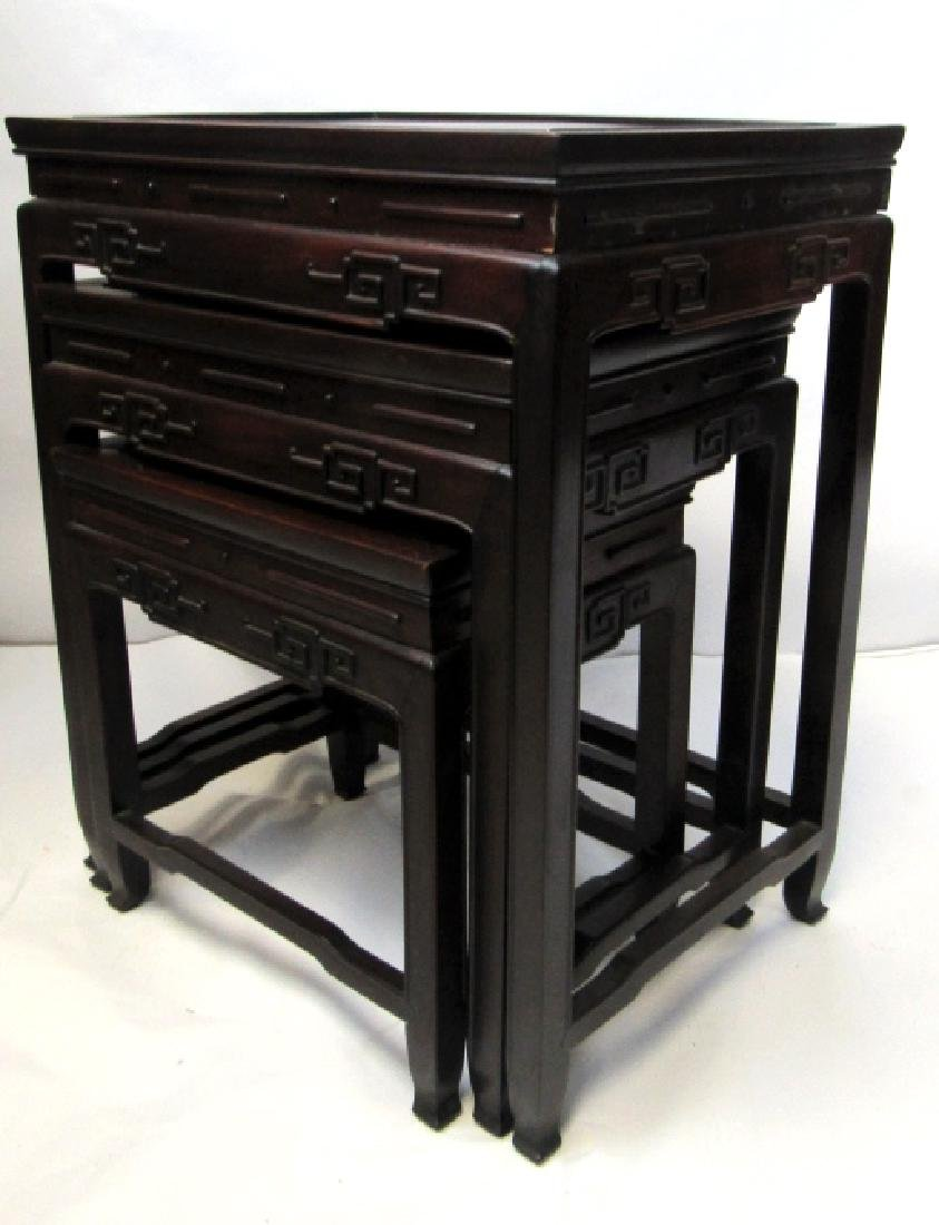 Set of Four Various Sizes Rosewood Nesting Tables;