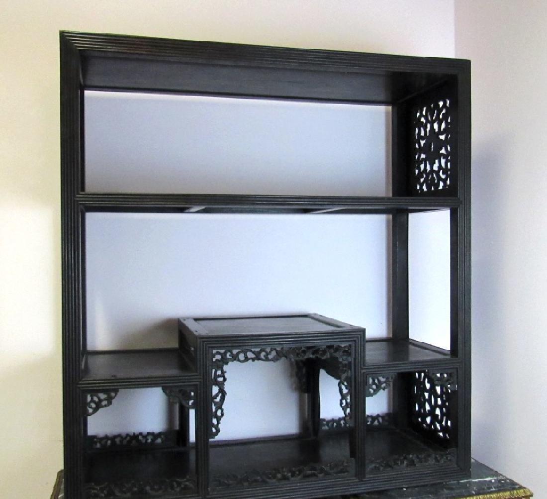 Dark Wood Shelf w/ Vineyard Details