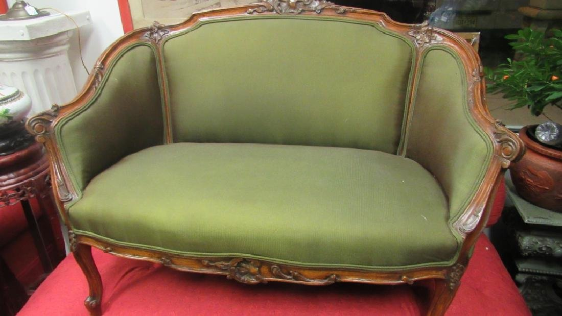 Green Victorian Style Settee