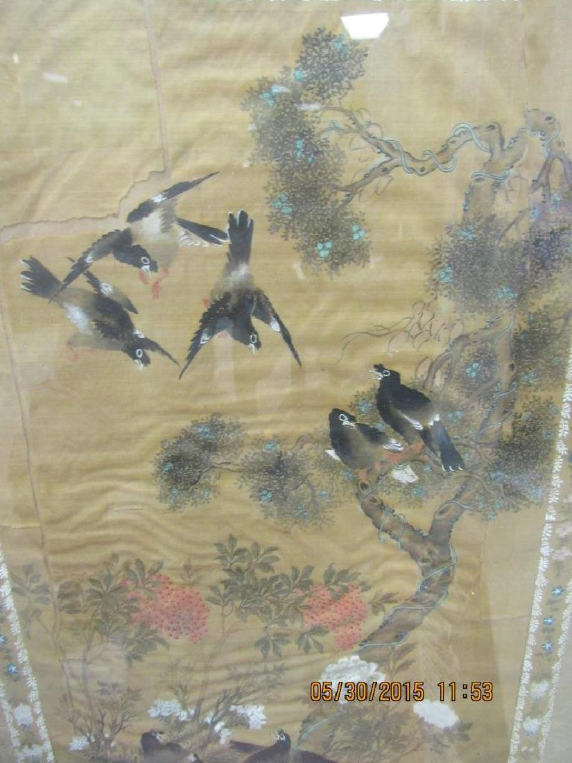 Framed Chinese Qing Dynasty Silk Painting of Birds