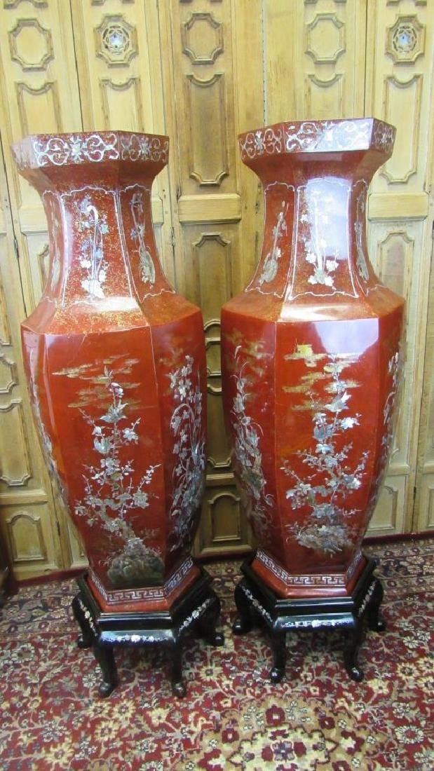 Pair of Lacquered Vases