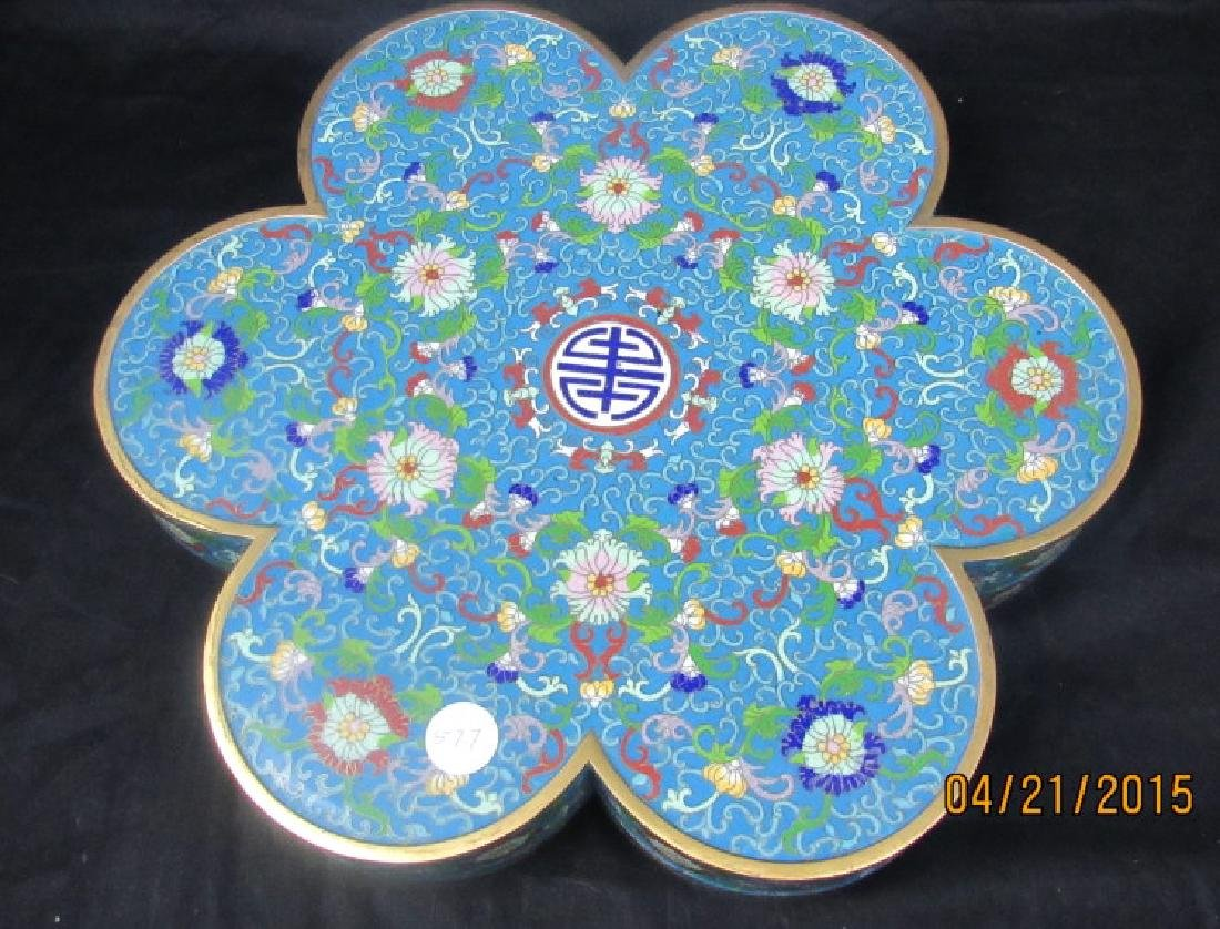 Large Chinese Cloisonne Lidded Floriform Box