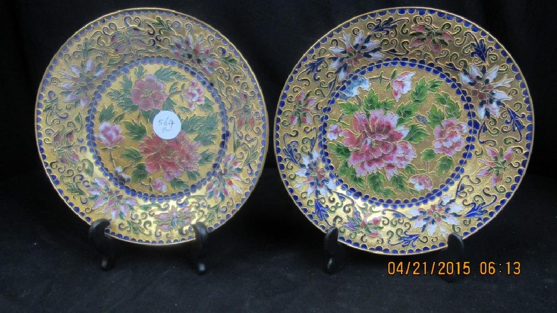 Pair of Chinese Cloisonne Floral Plates