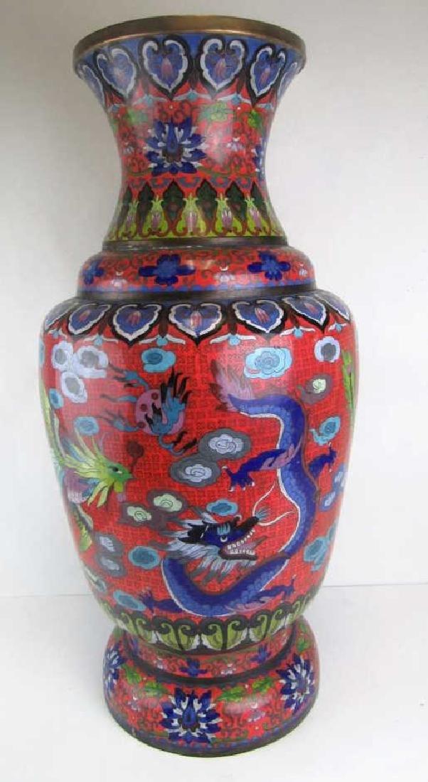 Qing Dynasty  Large Dragon & Phoenix Cloisonne