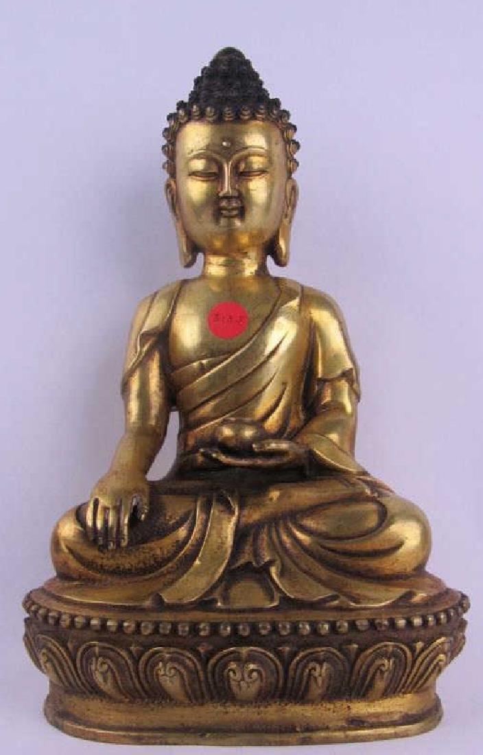 Bronze Buddha Statue; Marked