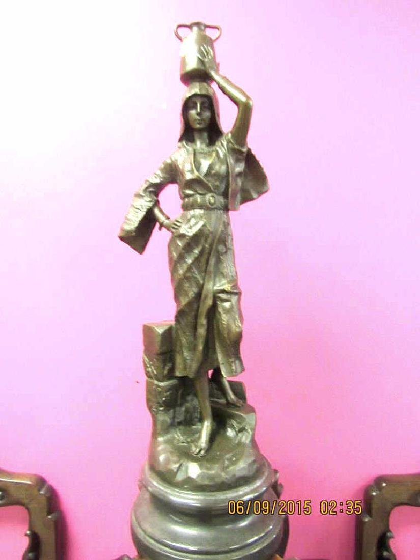 20th century bronze lady statue