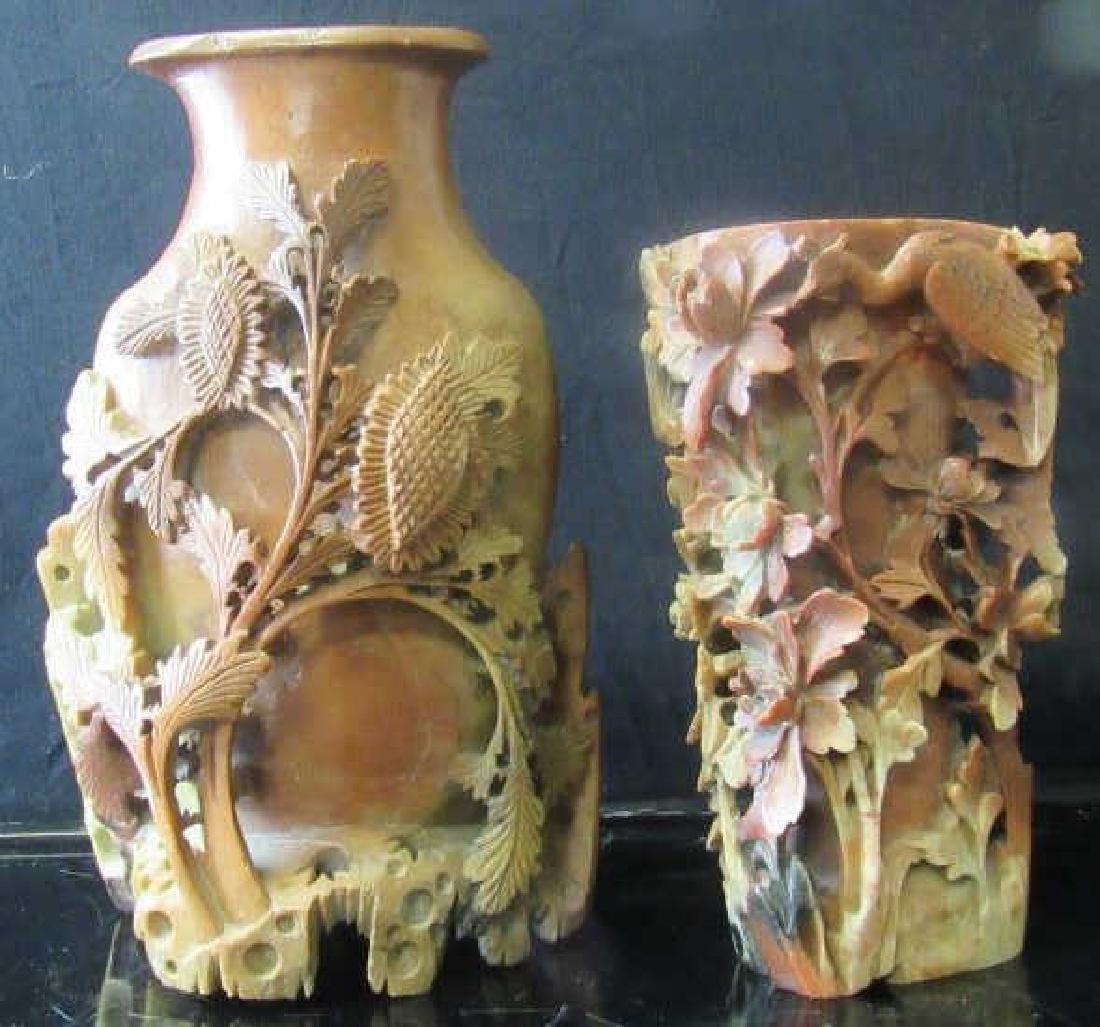 Qing Dynasty Soapstone Pen Holder and Vase