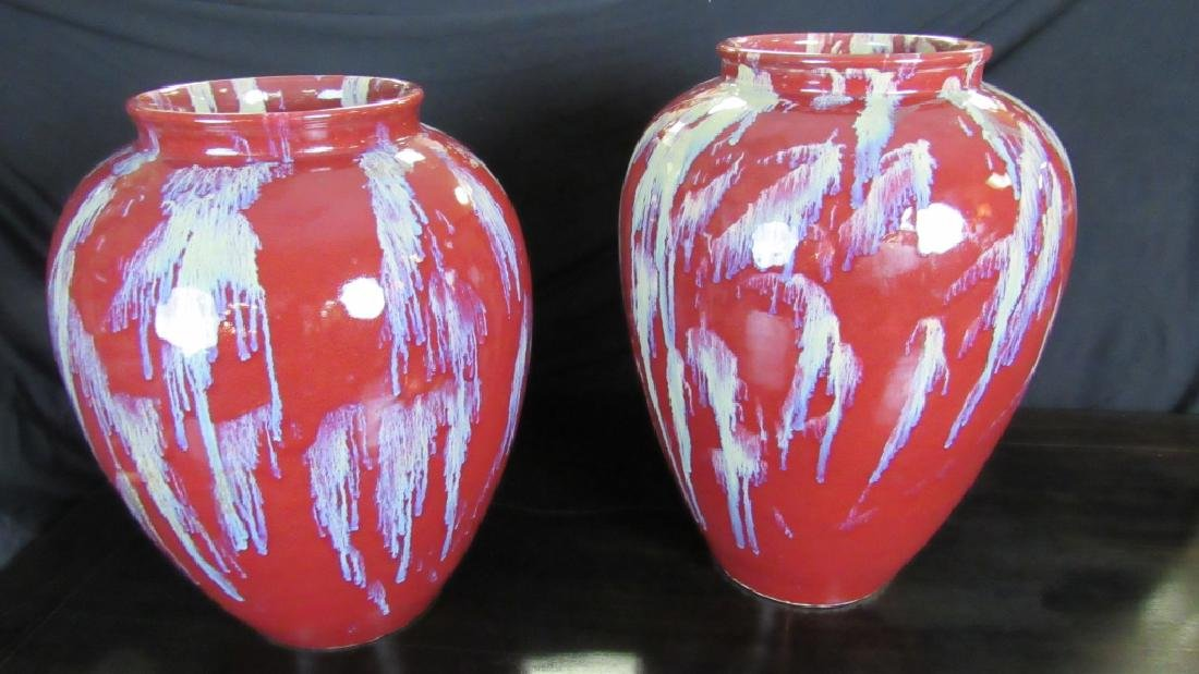 Two Chinese Flambe-Glazd Vases