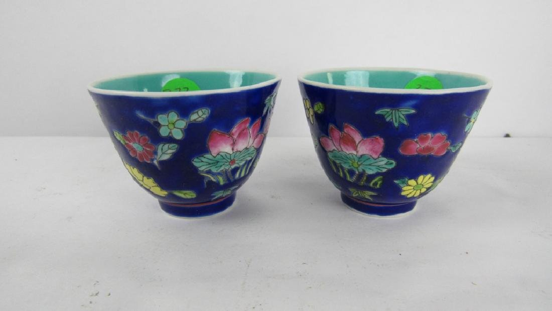 Pair of Chinese Qing Dynasty Blue Enameled Bowls