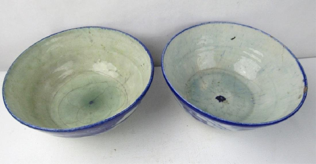 Pair of Antique Blue & White Glazed Ceramic Bowls