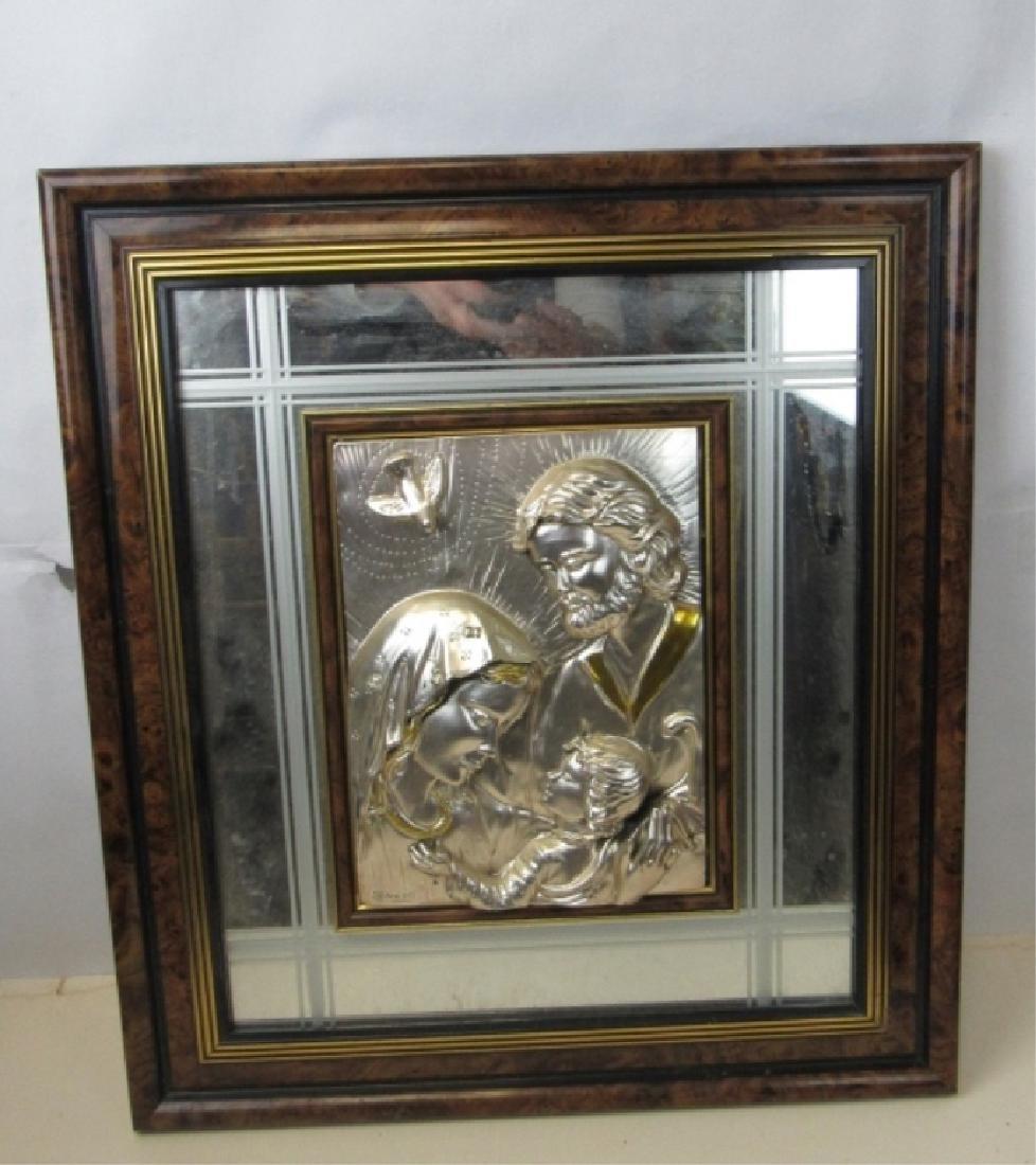 Embossed Metal Jesus, Mary, Joseph Portrait