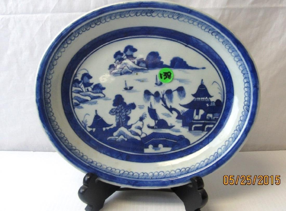 Chinese Blue & White Canton Plate