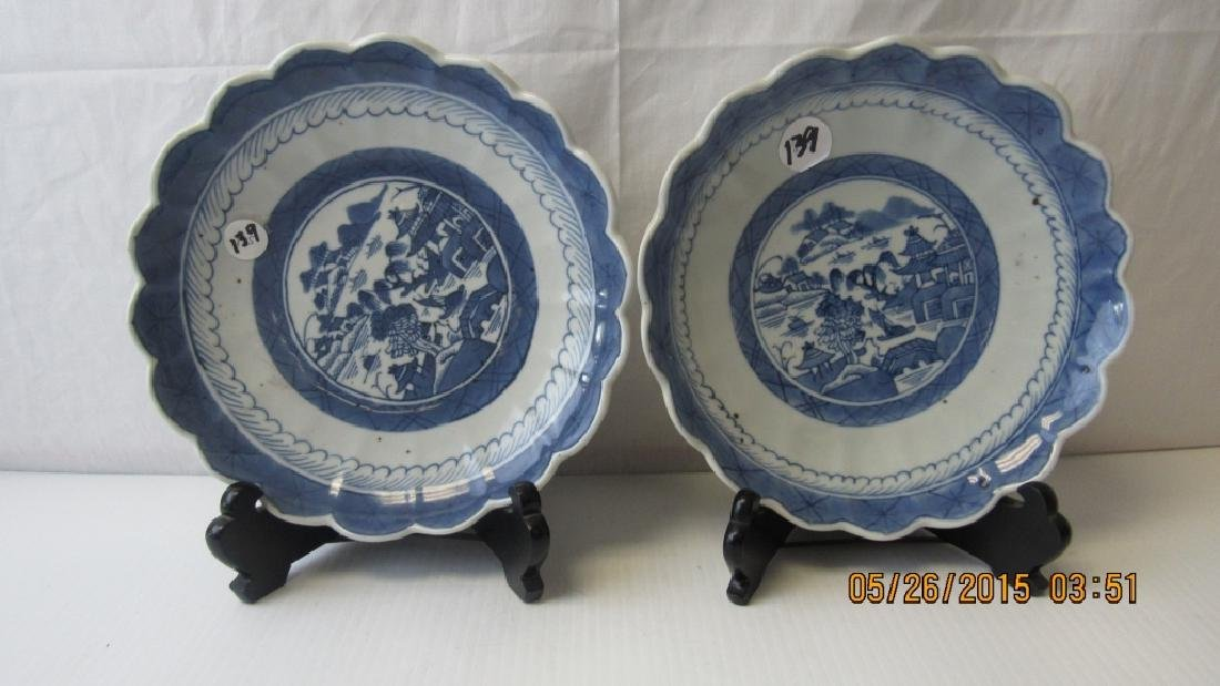 Pair Of Blue and White Cantonese Porcelain Plates