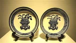 Pair of Blue  White Porcelain Soft Paste Dishes