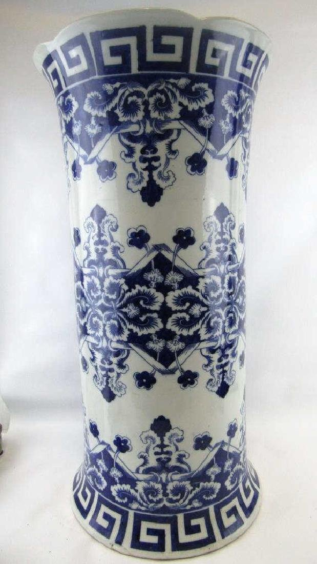 18th-19Th Century Blue and White Umbrella Holder