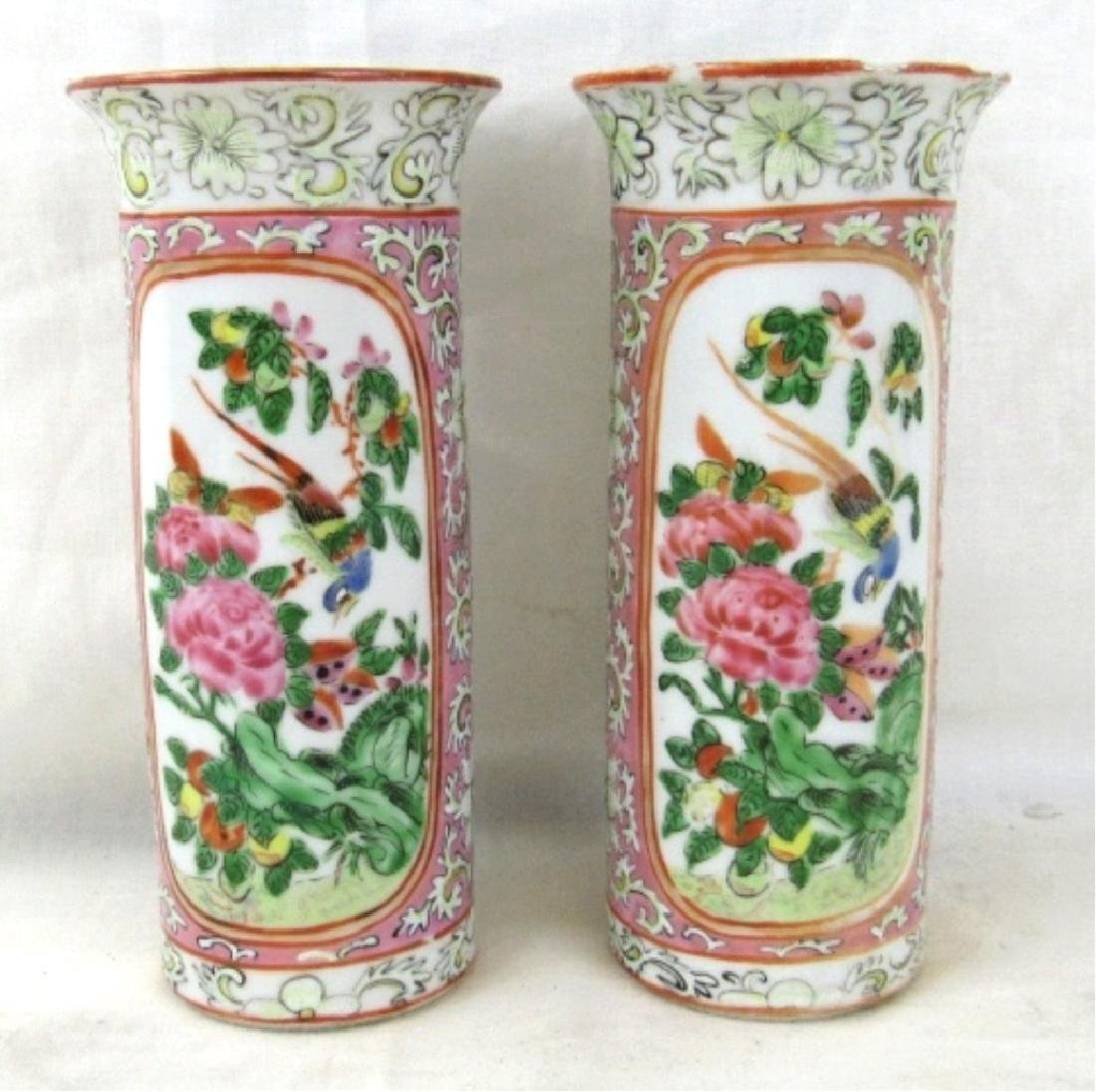 Beautiful Enameled Porcelain Qing Dynasty Vases