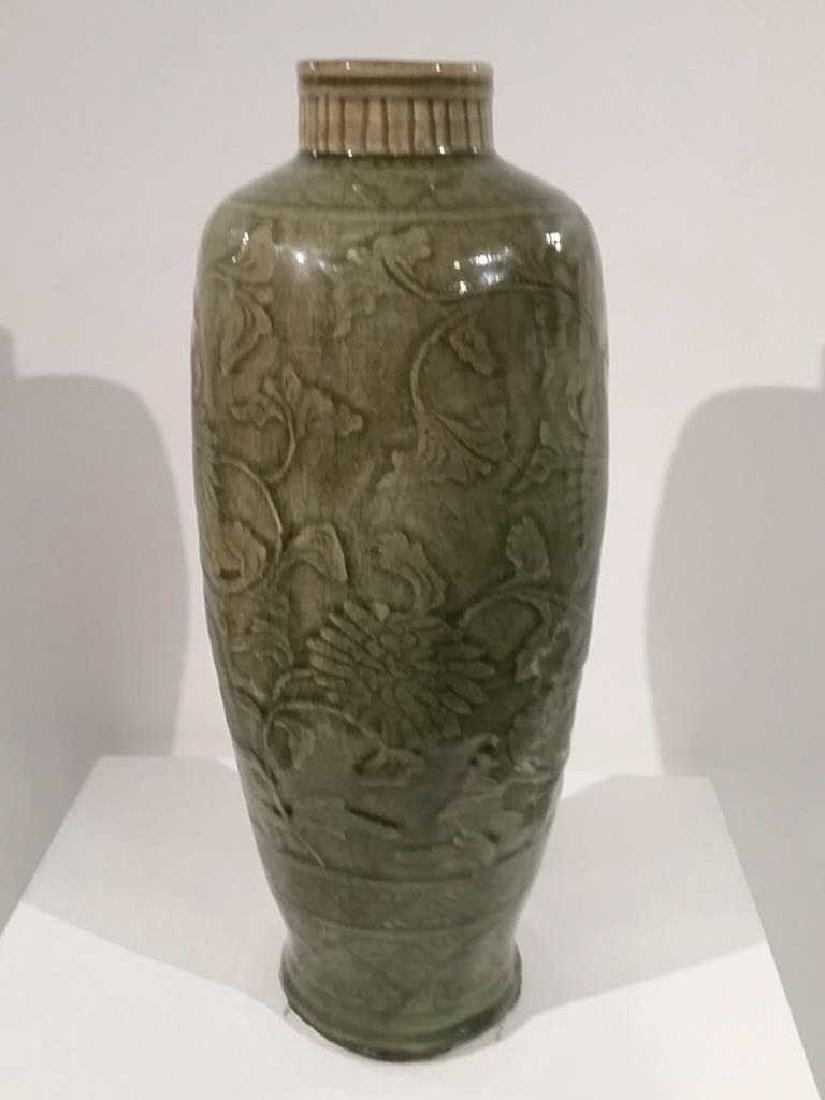 Carved Longquan Celadon Baluster Vase