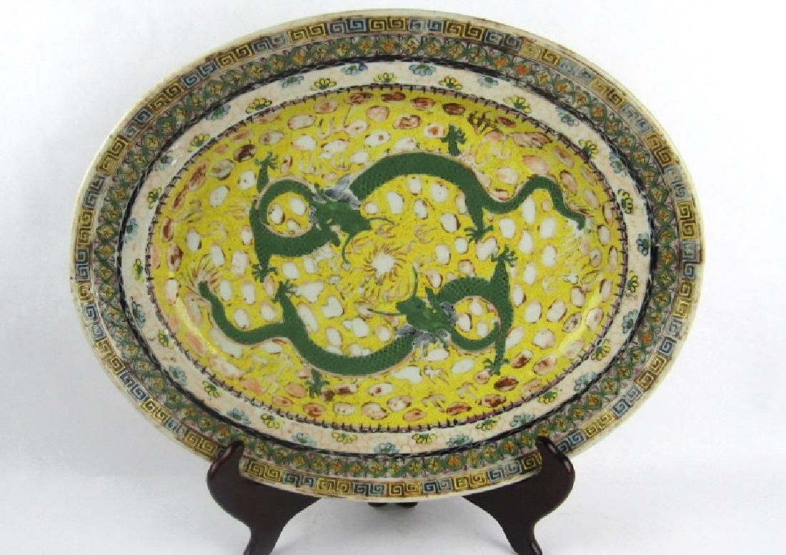 Qing Dynasty StyleFamile Rose Plate with Two Drago