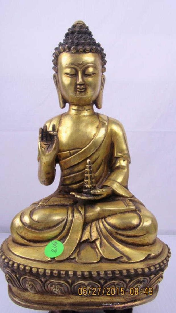 Chinese Gilded Bronze Statue of Buddha