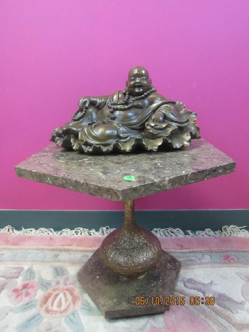 Bronze Buddha Statue on Marble Stand