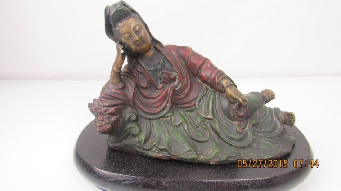 Chinese Bronze Guanyin Figurine