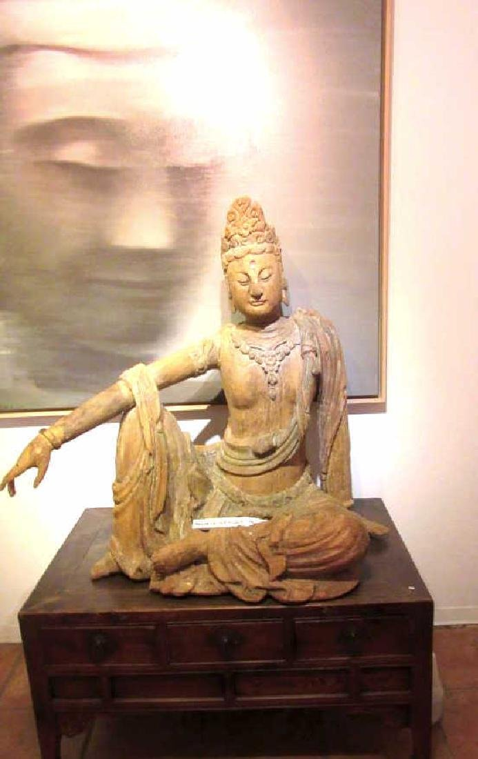 Chinese Antique Wood Sitting Guanyin