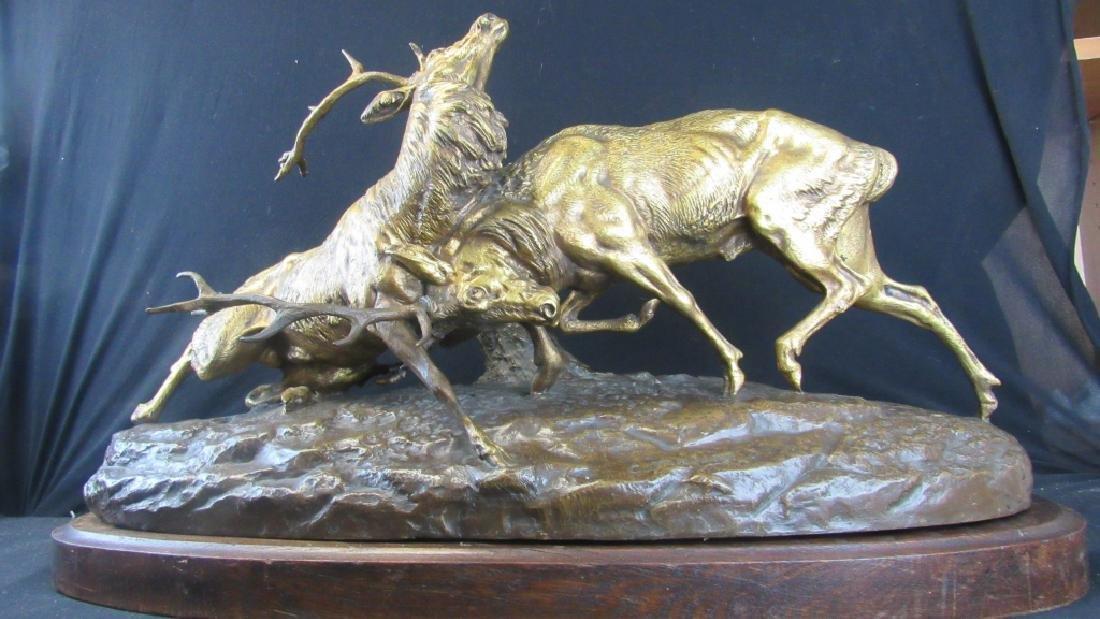 French Bronze Fighting Bucks Statue
