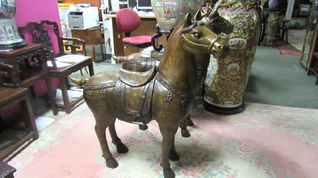 Pair Ming Dynasty of Brass Horses