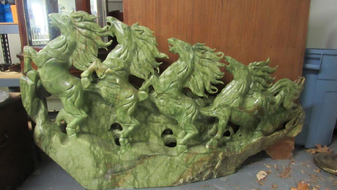 Large Jade Sculpture of Four Horses