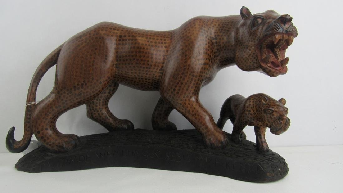 Carved Wood Leopards Figurine