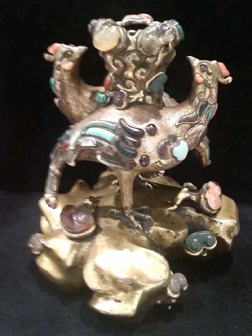 Rare Coral Hard Ston And Glass-Inlaid Gilt-Bronze