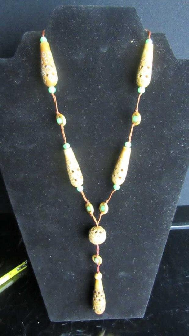 Old Jade Bead Necklace