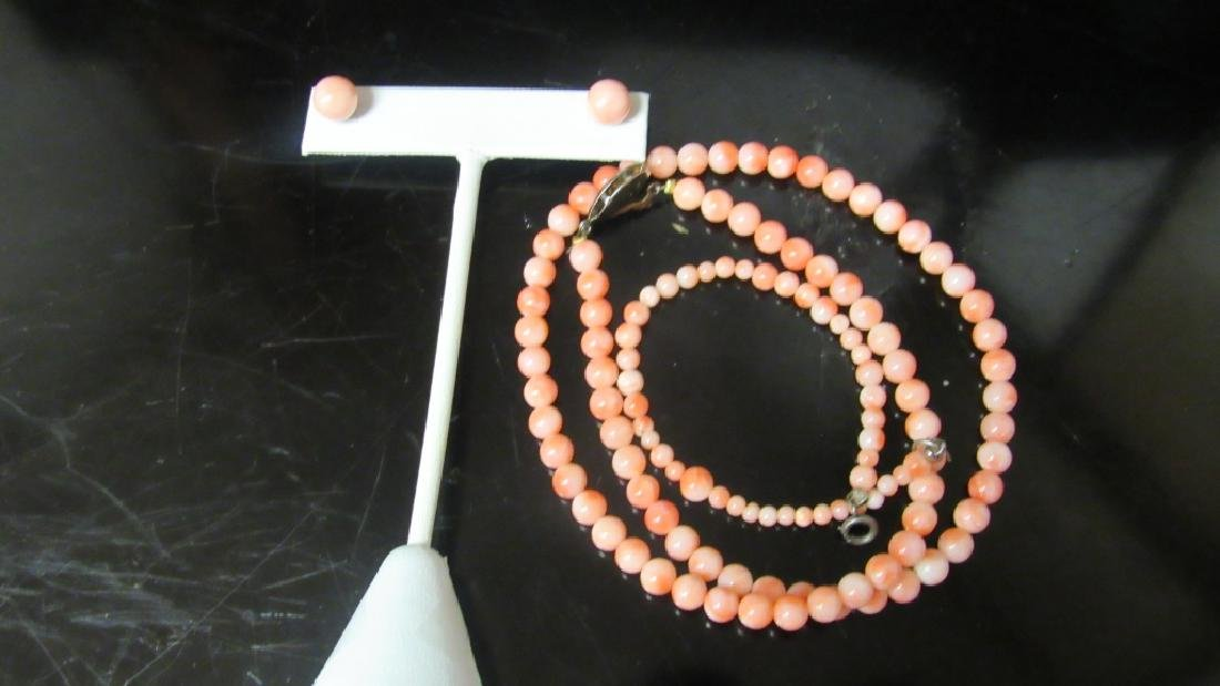 Carved Coral Bead Necklace and Earrings