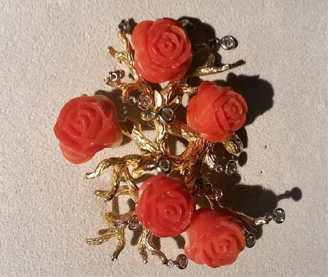 Diamond, Coral and Gold 'Rosh Bush' Pin