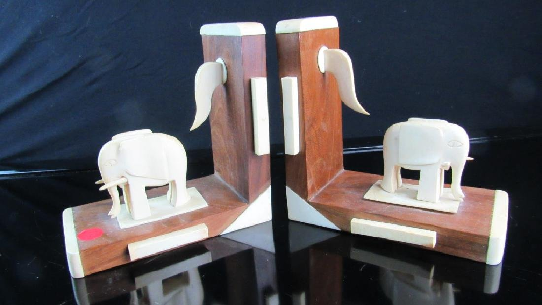 Chinese Rosewood and Lobster Shell Bookends