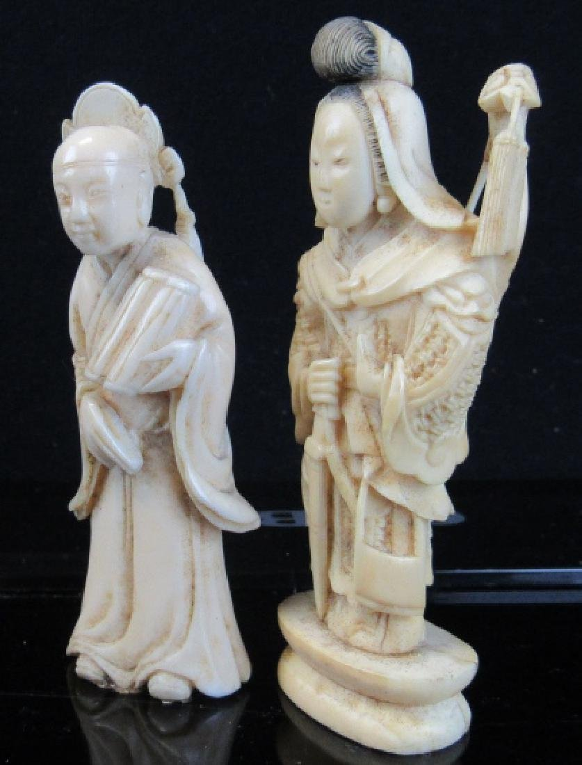 Pair of Whitewood Carved Figures