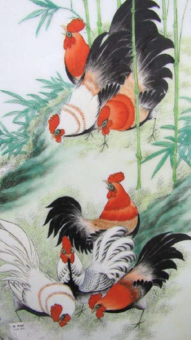 Porcelain Painting of Two Roosters