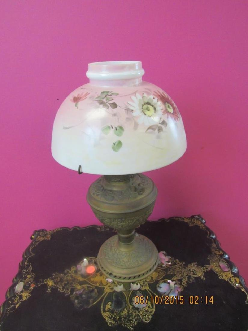 Antique Oil Lamp with Glass Shade