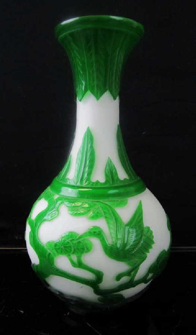 Qing Dynasty Peking Glass Cameo Vase