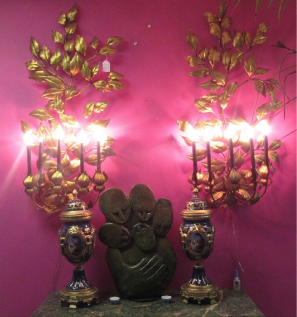 Gold Ormolu and Black Wall Sconces