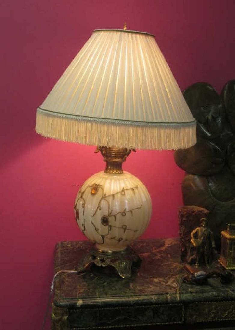 Beautiful Glass Table Lamp with Bronze Angels