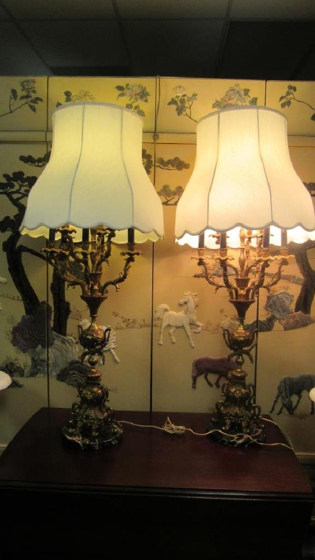 Pair of Bronze Lamps with Chandelier Style Lights