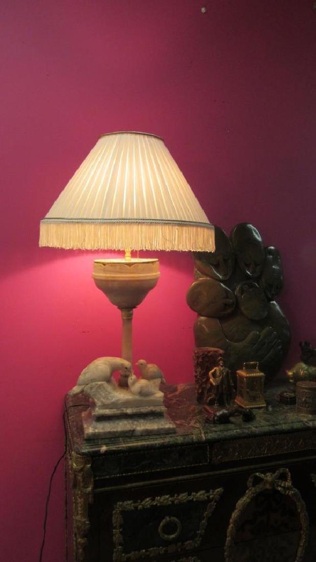 Vintage Marble Figurine Table Lamp