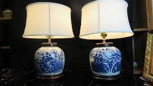 Pair of Qing Dynasty Glazed Tea Jar Lamps