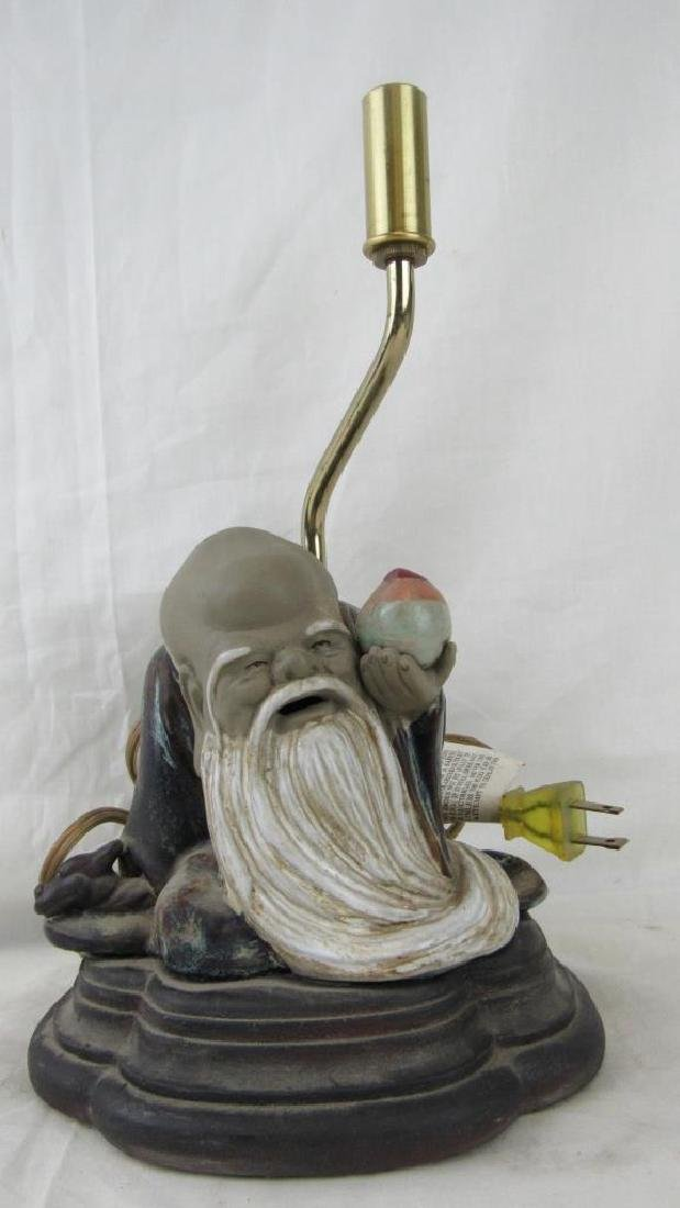 Beautiful Glazed Pottery Figural Lamp